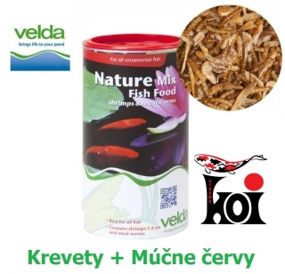 Nature Mix Fish Food Velda 1250 ml, Krevety + Múčne červy